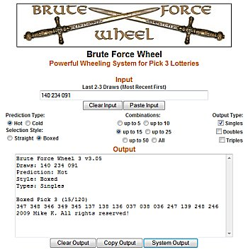 """Brute Force Wheel"""" Pick 3 - Latest hit of the lottery system"""